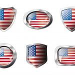 Estados Unidos América establece botones brillantes y escudos de bandera con metal fra — Vector de stock