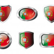 Portugal set shiny buttons and shields of flag with metal frame — Stock Vector