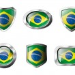 Brazil set shiny buttons and shields of flag with metal frame - — Stock Vector