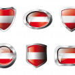 Austria set shiny buttons and shields of flag with metal frame - - 图库矢量图片