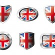 Stock Vector: Great britain set shiny buttons and shields of flag with metal f