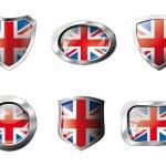 Gran Bretaña establece botones brillantes y escudos de bandera con metal f — Vector de stock