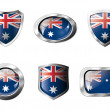Australia set shiny buttons and shields of flag with metal frame — Stock Vector