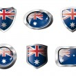 Stock Vector: Australia set shiny buttons and shields of flag with metal frame