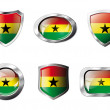 Постер, плакат: Ghana set shiny buttons and shields of flag with metal frame v