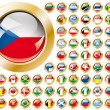 Shiny button flags with golden frame collection -  vector illust - Stock Vector