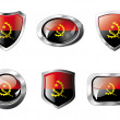 Angola set shiny buttons and shields of flag with metal frame - - Stock Vector