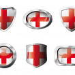 England set shiny buttons and shields of flag with metal frame - - Stock Vector