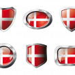 Stock Vector: Denmark set shiny buttons and shields of flag with metal frame -
