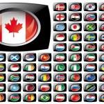 banderas de botón brillante con colección frame negro - vector illustr — Vector de stock
