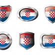 Croatia set shiny buttons and shields of flag with metal frame - — Stock Vector #7366551
