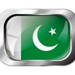 Pakistan shiny button flag vector illustration. Isolated abstrac — Stock Vector