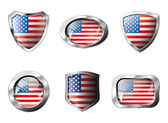 USA America set shiny buttons and shields of flag with metal fra — Stock Vector