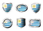 Uruguay set shiny buttons and shields of flag with metal frame - — Stock Vector