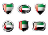 United arab emirates set shiny buttons and shields of flag with — Stock Vector