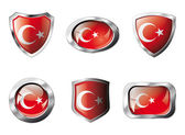 Turkey set shiny buttons and shields of flag with metal frame - — Stock Vector
