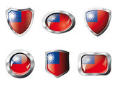 Taiwan set shiny buttons and shields of flag with metal frame - — Stockvector