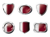 Qatar set shiny buttons and shields of flag with metal frame - v — Stock Vector