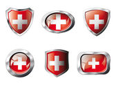 Swiss set shiny buttons and shields of flag with metal frame - v — Stock Vector