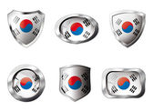 South korea set shiny buttons and shields of flag with metal fra — Stock Vector
