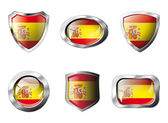Spain set shiny buttons and shields of flag with metal frame - v — Stock Vector
