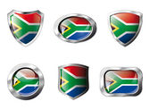 South africa set shiny buttons and shields of flag with metal fr — Stock Vector