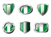 Nigeria set shiny buttons and shields of flag with metal frame - — Stock Vector