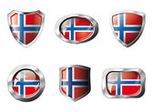 Norway set shiny buttons and shields of flag with metal frame - — Stockvektor