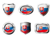 Slovakia set shiny buttons and shields of flag with metal frame — Vettoriale Stock