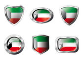Kuwait set shiny buttons and shields of flag with metal frame - — Stockvector