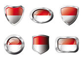 Indonesia set shiny buttons and shields of flag with metal frame — Stock Vector