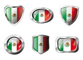 Mexico set shiny buttons and shields of flag with metal frame - — Stockvektor