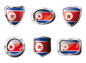 Korea DPR set shiny buttons and shields of flag with metal frame — Vector de stock