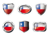 Chile set shiny buttons and shields of flag with metal frame - v — Stock Vector