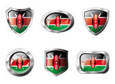 Kenya set shiny buttons and shields of flag with metal frame - v — Vector de stock