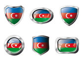 Azerbaijan set shiny buttons and shields of flag with metal fram — Stock Vector