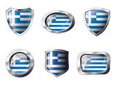 Greece set shiny buttons and shields of flag with metal frame - — Stockvektor