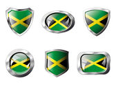 Jamaica set shiny buttons and shields of flag with metal frame - — Stock Vector