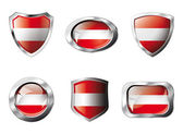 Austria set shiny buttons and shields of flag with metal frame - — Stock Vector