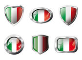 Italy set shiny buttons and shields of flag with metal frame - v — Stock Vector