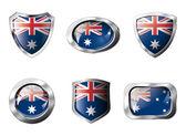 Austrálie sada lesklých tlačítek a štíty vlajky s kovovým rámem — Stock vektor