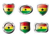 Ghana set shiny buttons and shields of flag with metal frame - v — Stock Vector