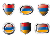 Armenia set shiny buttons and shields of flag with metal frame - — Stock Vector