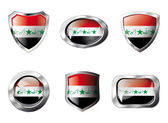 Iraq set shiny buttons and shields of flag with metal frame - ve — Stock Vector