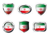 Iran set shiny buttons and shields of flag with metal frame - ve — Stockvektor