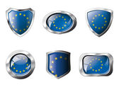 Europe union set shiny buttons and shields of flag with metal fr — Stock Vector