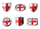 England set shiny buttons and shields of flag with metal frame - — Stock Vector