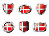 Denmark set shiny buttons and shields of flag with metal frame - — Vector de stock