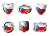 Czech set shiny buttons and shields of flag with metal frame - v — Stock Vector