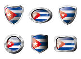 Cuba set shiny buttons and shields of flag with metal frame - ve — Stock Vector